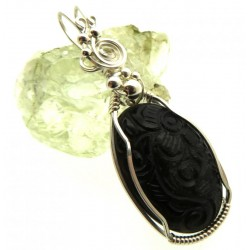 Hand Carved Silver Sheen Obsidian Sterling Silver Wire Wrapped Pendant 01