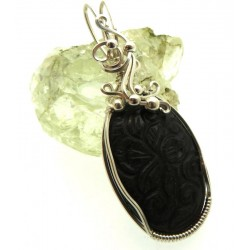 Hand Carved Silver Sheen Obsidian Sterling Silver Wire Wrapped Pendant 02