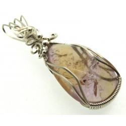 Ametrine Gemstone Sterling Silver Wire Wrapped Pendant 01