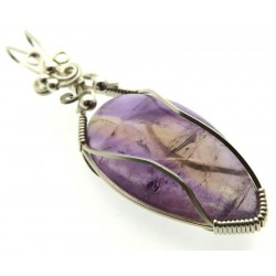 Ametrine Gemstone Sterling Silver Wire Wrapped Pendant 03