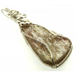 Mica and Quartz Sterling Silver Wire Wrapped Pendant 02