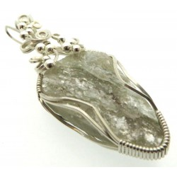 Mica and Quartz Sterling Silver Wire Wrapped Pendant 03
