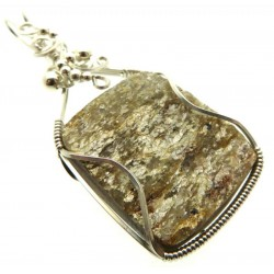 Mica and Quartz Sterling Silver Wire Wrapped Pendant 04