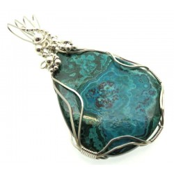 Chrysocolla Large Sterling Silver Wire Wrapped Pendant 06