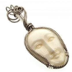 Bone Goddess Silver Plated Wire Wrapped Pendant 01