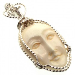 Bone Goddess Silver Plated Wire Wrapped Pendant 03