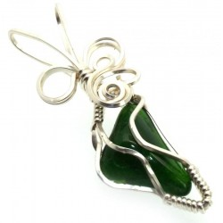 Diopside Silver Plated Wire Wrapped Pendant 01