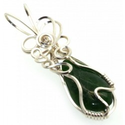 Diopside Silver Plated Wire Wrapped Pendant 02