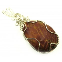 Cherry Creek Jasper Silver Plated Wire Wrapped Pendant 01