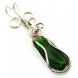Diopside Silver Plated Wire Wrapped Pendant 03