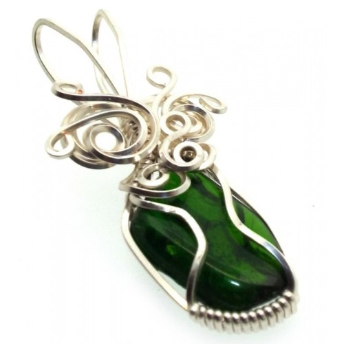 Diopside Silver Plated Wire Wrapped Pendant 04