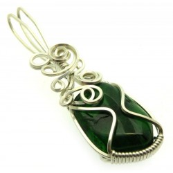 Diopside Silver Plated Wire Wrapped Pendant 05