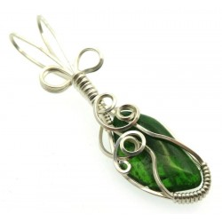 Diopside Silver Plated Wire Wrapped Pendant 06