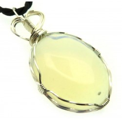 Opalite Silver Plated Wire Wrapped Pendant 01