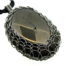 Anthracite Silver Plated Wire Wrapped Pendant 01