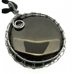 Anthracite Silver Plated Wire Wrapped Pendant 02