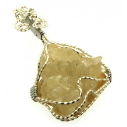 Calcite Cluster Silver Plated Wire Wrapped Pendant 01