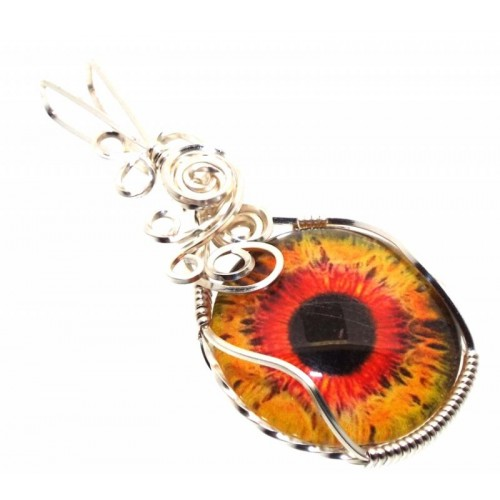 All Seeing Evil Eye Silver Plated Wire Wrapped Pendant 03