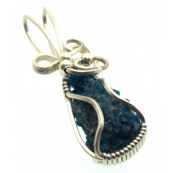 Apatite Gemstone Sterling Silver Wire Wrapped Pendant 02