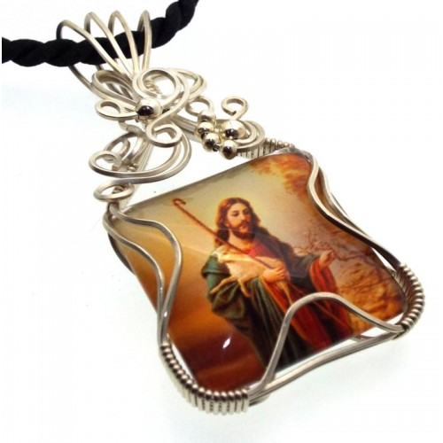 Christian Jesus Sterling Silver Wire Wrapped Pendant 02
