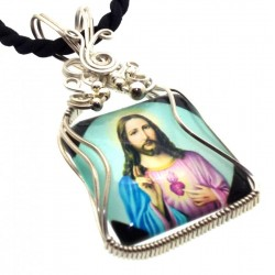 Christian Jesus Sterling Silver Wire Wrapped Pendant 03