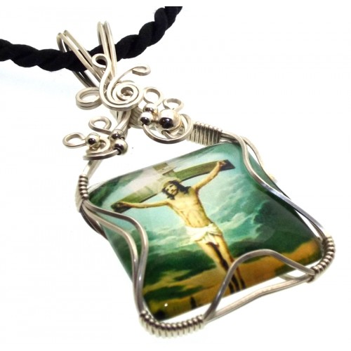 Christian Jesus Sterling Silver Wire Wrapped Pendant 04