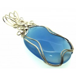 Blue Chalcedony Gemstone Sterling Silver Wire Wrapped Pendant 01
