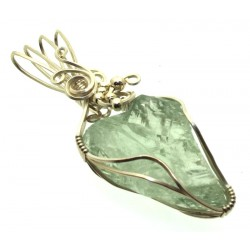 Prasiolite Gemstone Sterling Silver Wire Wrapped Pendant 01