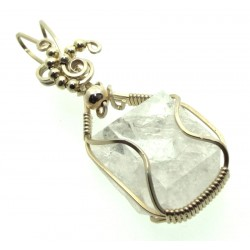Apophyllite Slice Gemstone Sterling Silver Wire Wrapped Pendant 01