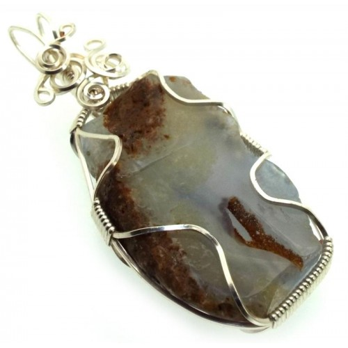 Natural Blue Lace Agate Silver Plated Wire Wrapped Pendant 01