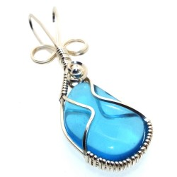 Blue Obsidian Wire Wrapped Pendant Design 11