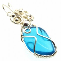 Blue Obsidian Wire Wrapped Pendant Design 6