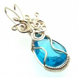 Blue Topaz Faceted Gemstone Sterling Silver Wire Wrapped Pendant 03