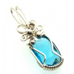 Blue Topaz Faceted Gemstone Sterling Silver Wire Wrapped Pendant 09