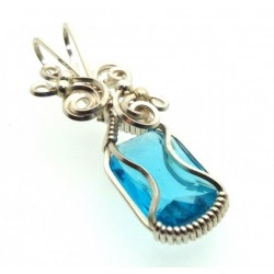 Blue Topaz Faceted Gemstone Sterling Silver Wire Wrapped Pendant 10