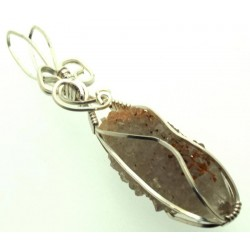 Cactus Quartz Silver Filled Wire Wrapped Pendant 04