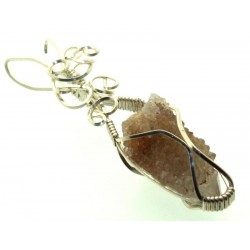 Cactus Quartz Silver Filled Wire Wrapped Pendant 06