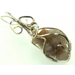 Cactus Quartz Silver Filled Wire Wrapped Pendant 11