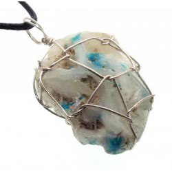 Cavansite Silver Plated Wire Wrapped Pendant 03