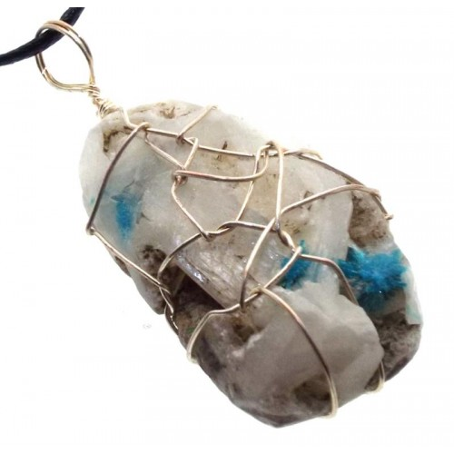 Cavansite Silver Plated Wire Wrapped Pendant 05
