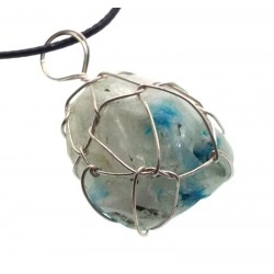 Cavansite Silver Plated Wire Wrapped Pendant 06