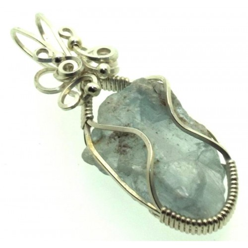 Celestite Gemstone Sterling Silver Wire Wrapped Pendant 04