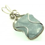 Celestite Gemstone Sterling Silver Wire Wrapped Pendant 05