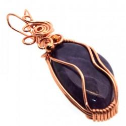 Charoite Gemstone Copper Wire Wrapped Pendant 08