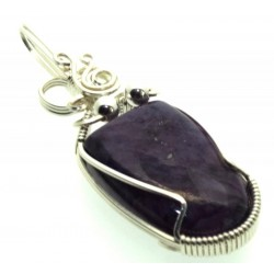 Charoite Gemstone Sterling Silver Wire Wrapped Pendant 13