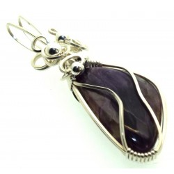 Charoite Gemstone Sterling Silver Wire Wrapped Pendant 16