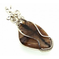 Chiastolite Cross Silver Filled Wrapped Pendant 01