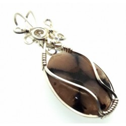 Chiastolite Cross Silver Filled Wrapped Pendant 02