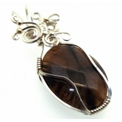 Chiastolite Cross Silver Filled Wrapped Pendant 03