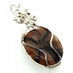 Chiastolite Cross Silver Filled Wrapped Pendant 05
